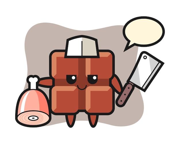 Ilustração do personagem da barra de chocolate como um açougueiro, estilo kawaii bonito.