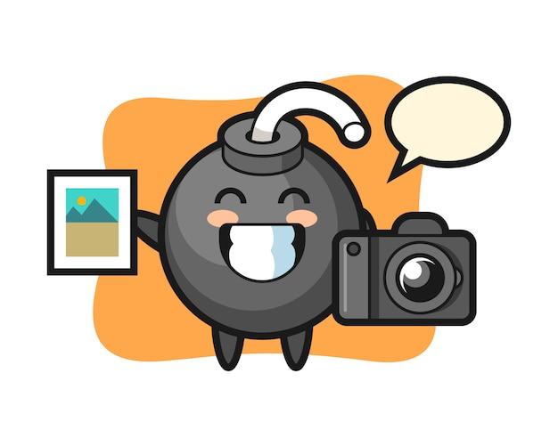 Ilustração do personagem da bomba como fotógrafo