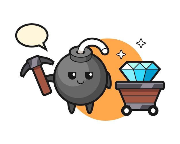Ilustração do personagem da bomba como um mineiro