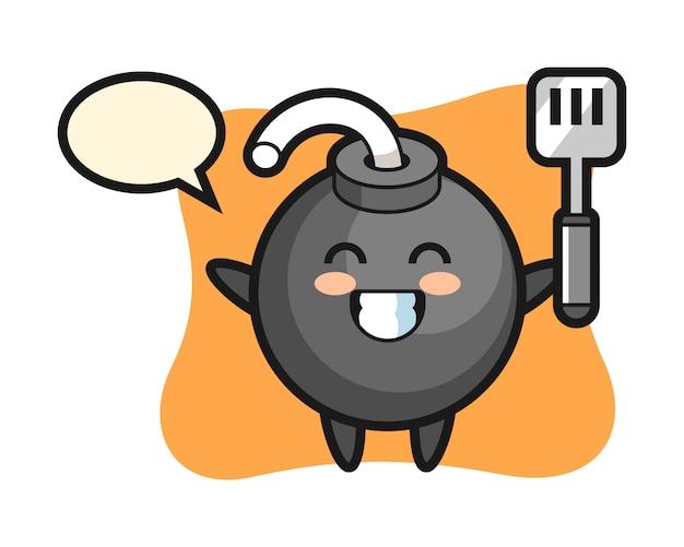 Ilustração do personagem da bomba enquanto um chef cozinha
