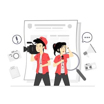 Ilustração do personagem da equipe jornalística