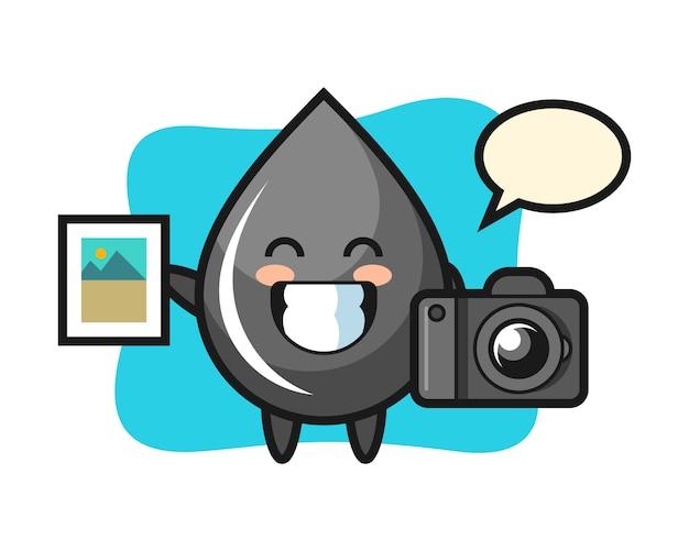Ilustração do personagem da gota de óleo como fotógrafo