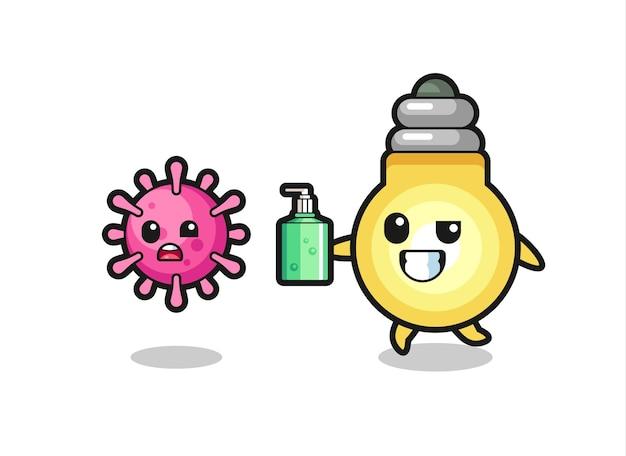Ilustração do personagem da lâmpada perseguindo o vírus do mal com desinfetante para as mãos, design de estilo fofo para camiseta, adesivo, elemento de logotipo