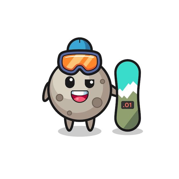Ilustração do personagem da lua com estilo de snowboard, design de estilo fofo para camiseta, adesivo, elemento de logotipo
