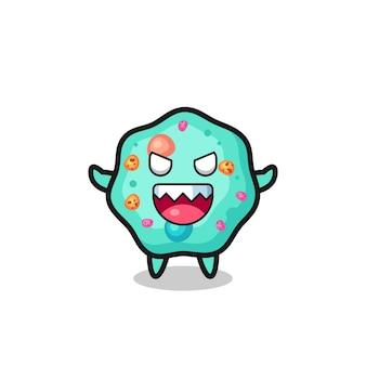Ilustração do personagem da mascote da ameba malvada, design de estilo fofo para camiseta, adesivo, elemento de logotipo