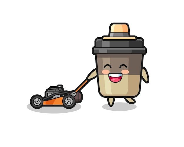 Ilustração do personagem da xícara de café usando cortador de grama, design de estilo fofo para camiseta, adesivo, elemento de logotipo