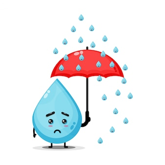 Ilustração do personagem de água bonito sendo chovido
