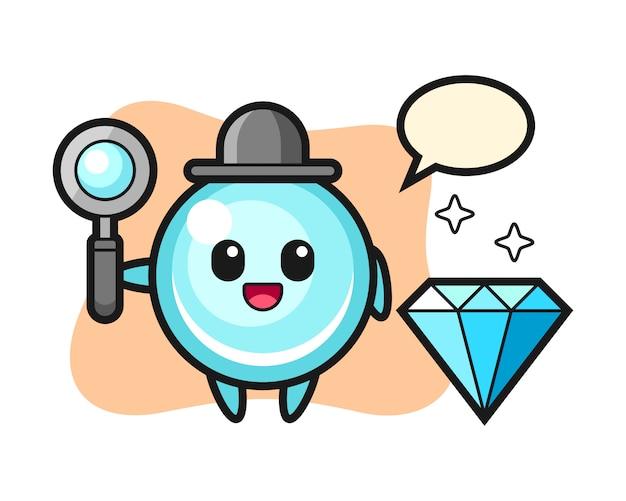 Ilustração do personagem de bolha com um diamante, design de estilo bonito