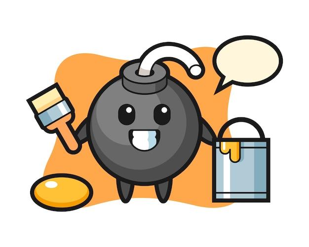 Ilustração do personagem de bomba como pintor