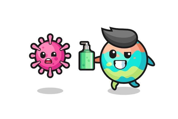 Ilustração do personagem de bombas de banho perseguindo o vírus do mal com desinfetante para as mãos, design de estilo fofo para camiseta, adesivo, elemento de logotipo