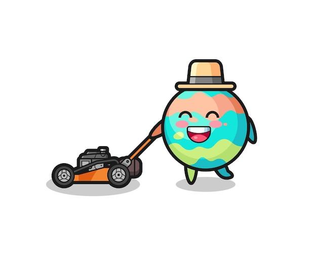Ilustração do personagem de bombas de banho usando cortador de grama, design de estilo fofo para camiseta, adesivo, elemento de logotipo