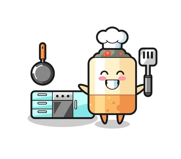 Ilustração do personagem de cigarro enquanto um chef cozinha, design fofo