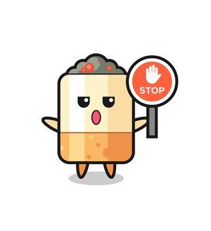 Ilustração do personagem de cigarro segurando uma placa de pare, design fofo