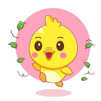 Ilustração do personagem de desenho animado de um patinho feliz