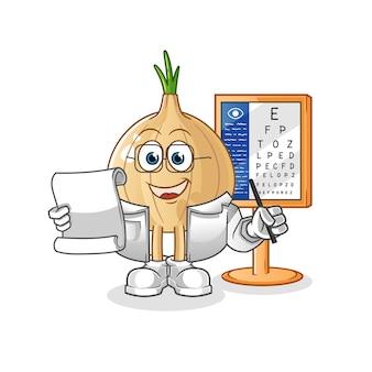 Ilustração do personagem de desenho animado onion oculist