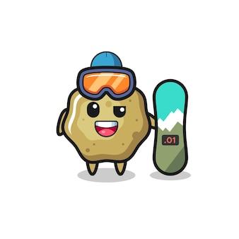 Ilustração do personagem de fezes soltas com estilo de snowboard, design de estilo fofo para camiseta, adesivo, elemento de logotipo