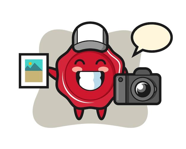 Ilustração do personagem de lacre como fotógrafo
