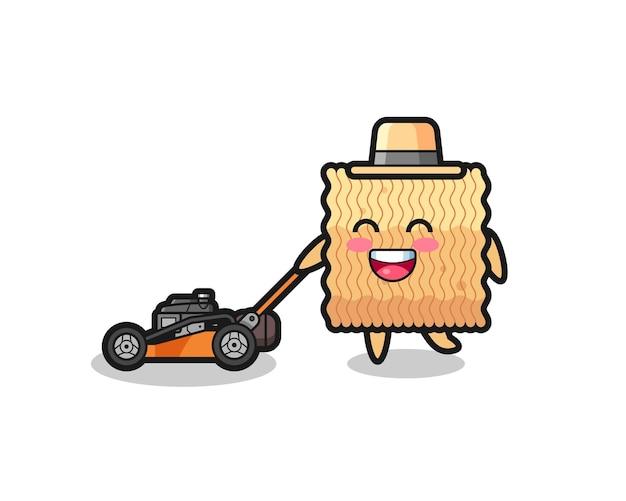 Ilustração do personagem de macarrão instantâneo cru usando cortador de grama, design de estilo fofo para camiseta, adesivo, elemento de logotipo