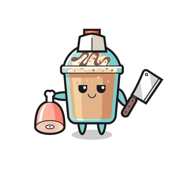 Ilustração do personagem de milk-shake como um açougueiro, design de estilo fofo para camiseta, adesivo, elemento de logotipo