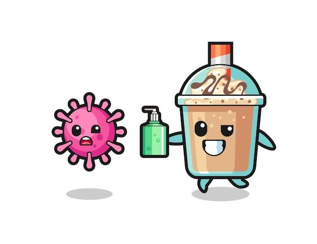 Ilustração do personagem de milk-shake perseguindo o vírus maligno com desinfetante para as mãos, design de estilo fofo para camiseta, adesivo, elemento de logotipo