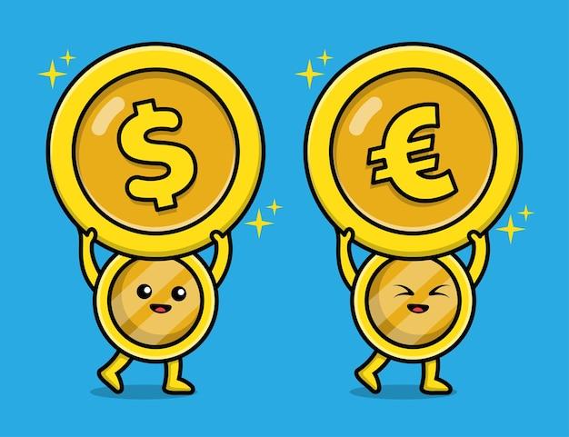 Ilustração do personagem de moeda fofa de ouro em euro e dólar
