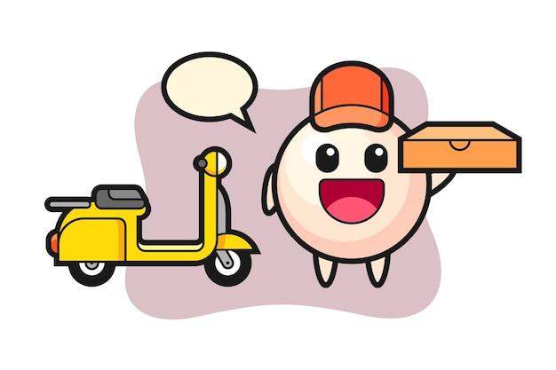 Ilustração do personagem de pérola como entregador de pizza