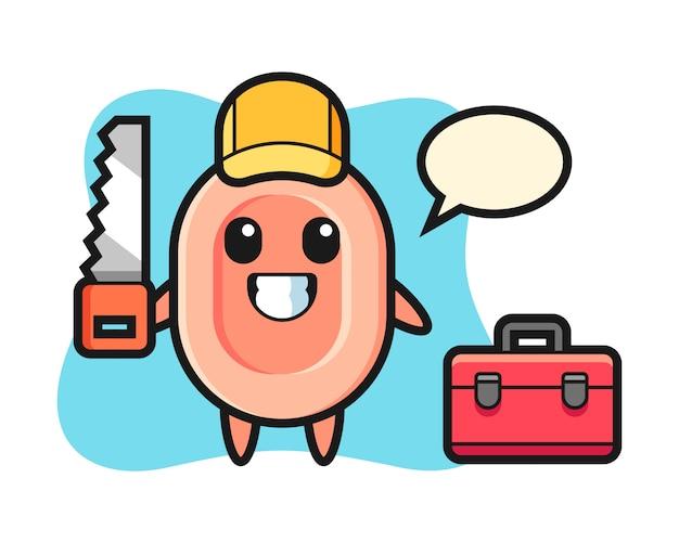 Ilustração do personagem de sabão como marceneiro, estilo bonito para camiseta, adesivo, elemento do logotipo Vetor Premium
