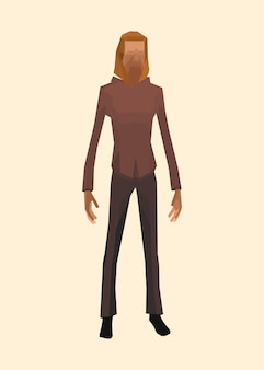 Ilustração do personagem de um homem barbudo em estilo low poly