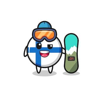 Ilustração do personagem distintivo da bandeira da finlândia com estilo de snowboard, design de estilo fofo para camiseta, adesivo, elemento de logotipo