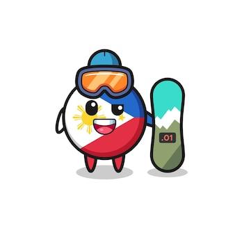 Ilustração do personagem distintivo da bandeira das filipinas com estilo de snowboard, design de estilo fofo para camiseta, adesivo, elemento de logotipo