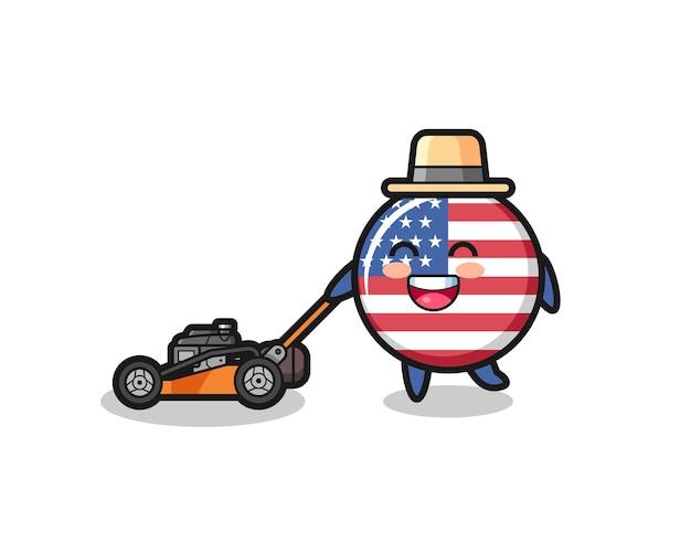 Ilustração do personagem distintivo da bandeira dos estados unidos usando cortador de grama, design de estilo fofo para camiseta, adesivo, elemento de logotipo