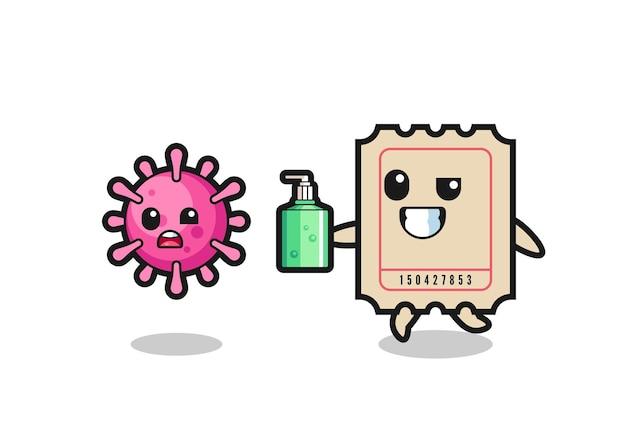 Ilustração do personagem do bilhete perseguindo o vírus do mal com desinfetante para as mãos, design de estilo fofo para camiseta, adesivo, elemento de logotipo