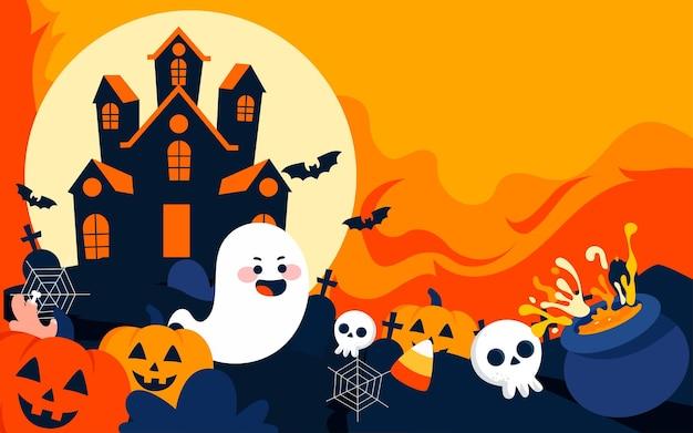 Ilustração do personagem do castelo de halloween para celebrar o pôster de atividades do halloween