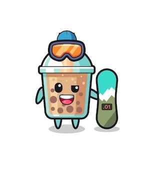 Ilustração do personagem do chá da bolha com estilo de snowboard, design de estilo fofo para camiseta, adesivo, elemento de logotipo