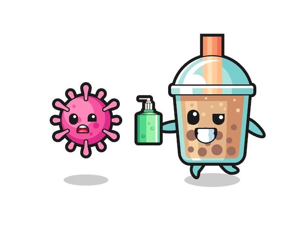 Ilustração do personagem do chá da bolha perseguindo o vírus do mal com desinfetante para as mãos, design de estilo fofo para camiseta, adesivo, elemento de logotipo