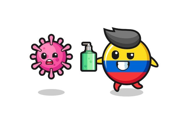 Ilustração do personagem do distintivo da bandeira da colômbia perseguindo o vírus maligno com desinfetante para as mãos, design de estilo fofo para camiseta, adesivo, elemento de logotipo