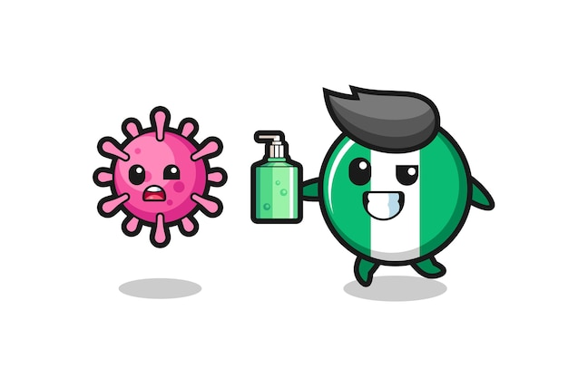 Ilustração do personagem do distintivo da bandeira da nigéria perseguindo o vírus maligno com desinfetante para as mãos, design de estilo fofo para camiseta, adesivo, elemento de logotipo