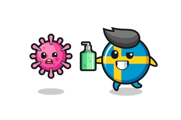Ilustração do personagem do distintivo da bandeira da suécia perseguindo o vírus maligno com desinfetante para as mãos, design de estilo fofo para camiseta, adesivo, elemento de logotipo