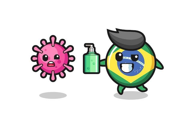 Ilustração do personagem do distintivo da bandeira do brasil perseguindo o vírus do mal com desinfetante para as mãos, design de estilo fofo para camiseta, adesivo, elemento de logotipo