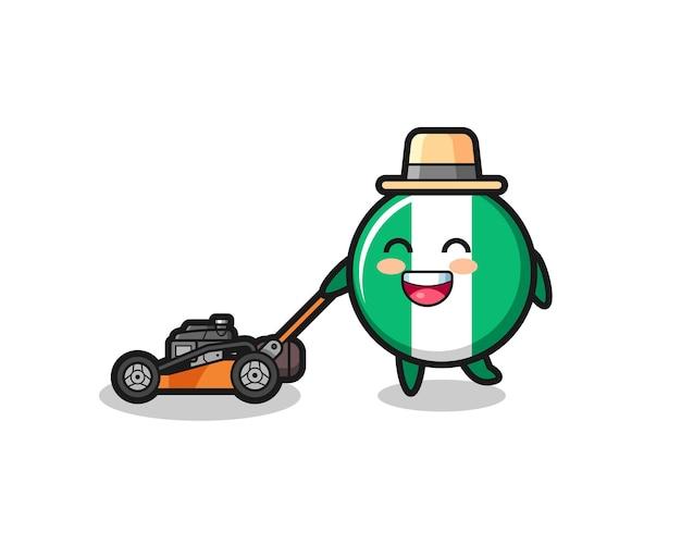 Ilustração do personagem do emblema da bandeira da nigéria usando cortador de grama, design de estilo fofo para camiseta, adesivo, elemento de logotipo