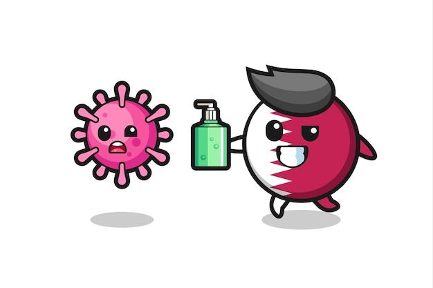 Ilustração do personagem do emblema da bandeira do qatar perseguindo o vírus do mal com desinfetante para as mãos, design de estilo fofo para camiseta, adesivo, elemento de logotipo