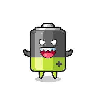 Ilustração do personagem do malvado mascote da bateria, design de estilo fofo para camiseta, adesivo, elemento de logotipo