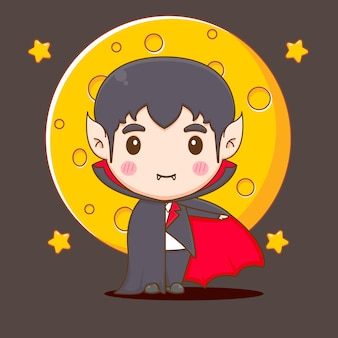 Ilustração do personagem drácula chibi fofo