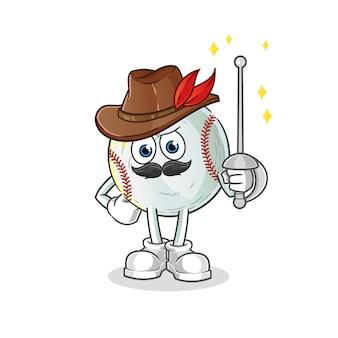 Ilustração do personagem esgrimista de beisebol