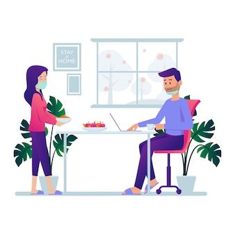 Ilustração do personagem ficar em casa para prevenção do vírus corona