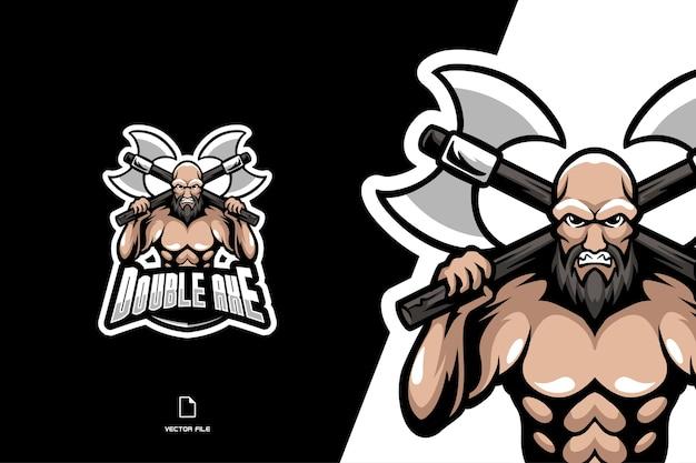 Ilustração do personagem homem forte com logotipo do mascote de machado