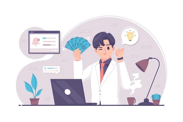 Ilustração do personagem jovem empresário empresário