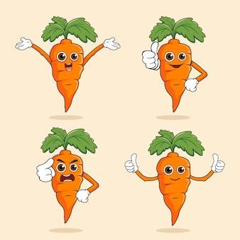 Ilustração do personagem kawaii da mascote da cenoura