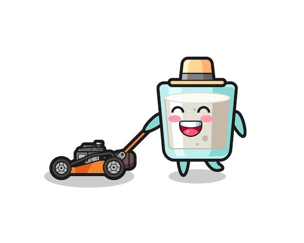 Ilustração do personagem leite usando cortador de grama, design de estilo fofo para camiseta, adesivo, elemento de logotipo