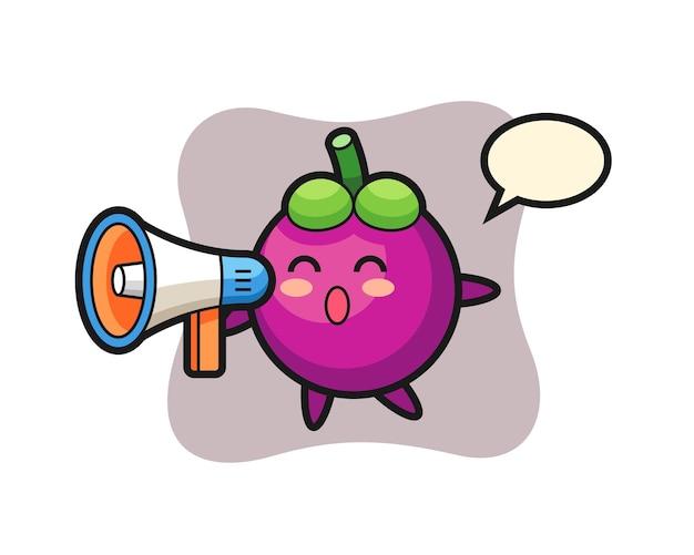 Ilustração do personagem mangostão segurando um megafone, design de estilo fofo para camiseta, adesivo, elemento de logotipo